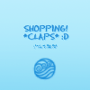 "esmenet: Light blue background, with a darker blue Water Tribe symbol and the text ""Shopping! *claps* :D"" (shopping!)"