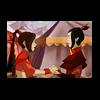 esmenet: Ty Lee holding Azula's hands in front of a circus tent (tyleezula4ever)