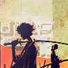 esmenet: Mugen with his sword over his shoulder, Jin with his at his side. From the opening of Samurai Champloo. (the voice of summer)