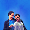 semielliptical: Troy and Abed smiling and wearing the same sweater (community:troy/abed)