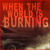 briarwood: Fic icon for When The World Is Burning - dark image of the Impala with fic title (Fic WTWIB Impala)
