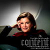 "muccamukk: Captain Janeway lounging in her ready room. Text: ""Content"" (ST: Content)"