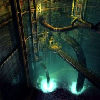 mystiri_1: interior view of a mko reactor, with pipes descending into glowing mako (Midgar)