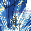 down: Manga image of Umi and the dragon Selece from Magic Knight Rayearth, her hand on his nose, dressed in her armour (Selece)