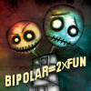 "jesse_the_k: Happy & sad monster dolls over ""bipolar = 2X Fun"" (Bipolar = Twice the Fun)"