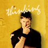 "skieswideopen: John Sheppard in a thoughtful pose against a yellow background with the word ""thinking"" (Thinking)"