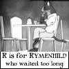 "rymenhild: Neko-sensei, waiting for his no-show date. Caption, in Edward Gorey font: ""R is for Rymenhild who waited too long."" (Tutu: R is for Rymenhild)"