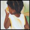 skywardprodigal: A girl in braids, eating an orange, with her back displayed (carel blain-tresse)