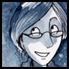 jjhunter: Drawing of human JJ in ink tinted with blue watercolor; woman wearing glasses with arched eyebrows (JJ inked)