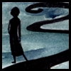 jjhunter: silhouetted woman by winding black road; blank ink tinted with green-blue background (silhouetted JJ by winding road)
