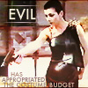 "megpie71: Servalan points a gun, with text ""evil has appropriated the costume budget"" (costume budget)"