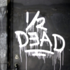 "somnous: graffiti on a wall reading ""1/2 DEAD"" (half dead)"
