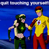 scrollgirl: artemis with fists clenched annoyed with wally poking himself; text: quit touching yourself! (dcu yj wally/artemis)