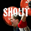 "rydra_wong: Weightlifter Cheryl Haworth with a barbell over her head, yelling. Text: ""SHOUT."" (strength -- shout)"