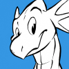 davv: Cartoonish dragon with a crest! (cartoonish)