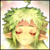 strawberry_suite: Drawing of an elven girl with closed eyes and green, leaf-like hair, surrounded by light. (Default)
