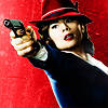 monanotlisa: Retro-style icon of Peggy Carter with her red hat and a gun (Peggy! - Agent Carter)