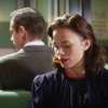 balsamandash: Peggy Carter and Edwin Jarvis (Agent Carter), sitting back to back in adjoining booths (mcu] strangers on a crazy adventure)