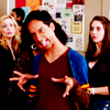 balsamandash: Abed Nadir (Community) making a face and a strange hand gesture, walking away from friends (com] get out there and dance like an idi)