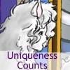 "elizabethmccoy: An anthropomorphic feline's face, with the words ""Uniqueness Counts"" (Uniqueness Counts)"