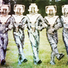 turlough: Cybermen hamming it up, promo pic for the Fourth Doctor adventure 'Revenger of the Cybermen' ((dr who) a chorus line)