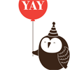 tamarillow: Owl holding a balloon which has the text 'yay' on it (yay owl)