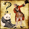 commodorified: David Garrick as Benedick, a sad panda, a question mark (misunderstanding)