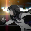 quicksilver_ink: A young woman running, with bright lights in the background (Homura)