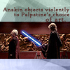 sathari: Anakin-Palpatine confrontation; caption: Anakin objects violently to Palpatine's taste in art (Anakin's an art critic)