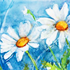 syntaxofthings: Two white flowers against a blue sky. ([flower] Flower under blue sky)