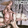 "morbane: Picture of girl riding bear with text ""Co-Mod"" (onceuponfic)"