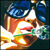 skywardprodigal: Woman in blue shades blowing bubbles (artworkbysteve)