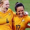 copracat: kyah simon celebrates a goal (kyah simon)