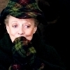 dueltastic: Image: McGonagall looks amused in a tartan hat and mittens. (made of tartan)