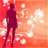 nonisland: A warm-hued silhouette of a person in a skirt, standing against a floral background. ([*] ladies)