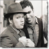 girlpearl: Pete Wentz & Patrick Stump in black & white with fists up (dukes up)