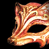 vulpines: an old carved wooden mask shaped like a fox face and intricately painted. (group | fox mask) (Default)