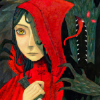 outlineofash: Wolf reaches for Red Riding Hood, who holds a knife. (RRH - Wolf wants Red)