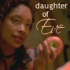 phoenix64: Zoe holding an apple, text: daugher of Eve (ff zoe daughter of eve)