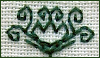 kate_nepveu: quasi-botantical design stitched in green thread on cream fabric (stitching, blackwork)