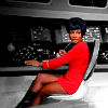 muccamukk: Uhura sitting at her station, her self in colour, everthing else in grayscale. (ST: Uhura)