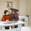 metatxt: guinan (now returned to her adult size) colors with a young ro laren (who is not yet ready to become adult again) (tng: guinan and baby ro laren)