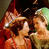 metatxt: jadzia dax and kira nerys dressed in medieval princess dresses, gazing lovingly at each other (ds9: princesses in love)