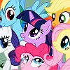 ponyville_trot: Six cartoon ponies in a huddle (Default)