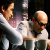 china_shop: Slightly cartoony pic of Neal and Mozzie sitting at Neal's table with coffee cups (WC - Neal/Moz comic)