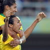 frangipani: Marta and Cristiane of Brazil's national women's football team, celebrating a goal (victory is mine)