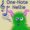 capriuni: A a cartoon furry monster whistling a single note; text; One-Note Nellie (1-note Nellie.)
