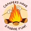 """originalpuck: Smores roasting over a campfire. Text says, """"Campers Have Smore Fun."""" (Campers have smore fun)"""
