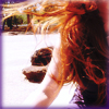 commodorified: My hair, flying in the wind, and my right arm, in sunlight (Marna and wind)