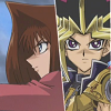 alexseanchai: Yami Yuugi and Anzu with capsule shooters at the ready (Yu-Gi-Oh! Yami and Anzu preparing for ba)